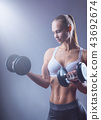 woman, fitness, dumbbell 43692674