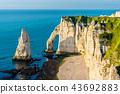 Natural chalk arch at Etretat, France 43692883