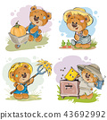 Set of illustrations of of teddy bear beekeeper, farmer. 43692992