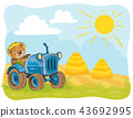 illustration of a teddy bear tractor driver. 43692995