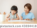 Happy Asian Mother and daughter drawing together. 43694418