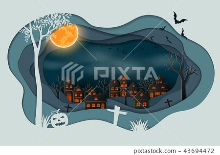 Paper art of happy halloween 43694472