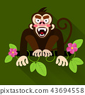 Cute cartoon baby monkey hanging on tree 43694558