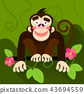 Cute cartoon baby monkey hanging on tree 43694559
