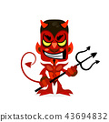 The red devil smiles with a Trident in his hands. 43694832