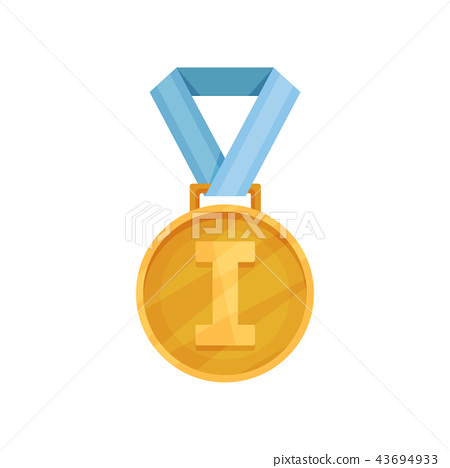 Flat vector icon of shiny golden medal with blue ribbon. First place. Reward for champion of 43694933