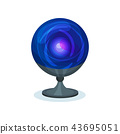 Blue magic ball. Crystal sphere on gray stand. Item for prediction of future. Flat vector element 43695051