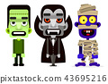 Dracula, the mummy and zombie set of monsters. 43695216