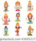 Indian god and goddess set, Rama, Brahma, Kali, Ganesha, Lakshmi, Shiva, Saraswati, Hanuman vector 43695217