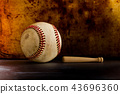 Vintage baseball and small wooden bat. Sport equipment on retro style metal texture background. copy 43696360