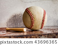 Vintage baseball and small wooden bat. Sport equipment on retro style metal texture background 43696365