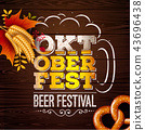 Oktoberfest Banner Illustration with Fresh Beer in Typography Lettering on Vintage Wood Background 43696438