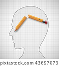 Broken pencil in the human head. Nervous tension 43697073