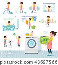 flat type Ballet Bun hair Apron mom_housekeeping 43697566