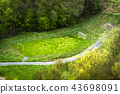 Small football pitch in a park seen from above 43698091
