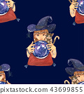 Fortuneteller Witch Cat with Crystal Galaxy Ball 43699855