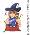 Fortuneteller Witch Zombie Cat with Crystal Ball 43699856