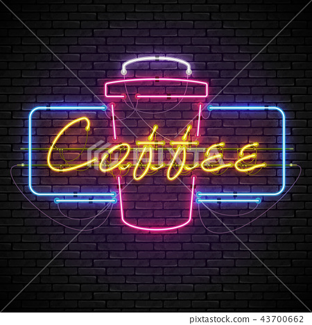 Shining and glowing neon coffee sign in frame. 43700662