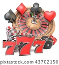 Roulette, dice, 777, card signs and chips 3D 43702150