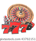 Roulette, dice, 777 and gambling chips 3D 43702151