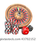Roulette, dice and gambling chips 3D 43702152