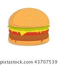 burger sandwich illustration, food icon, burger sandwich isolated - fast food 43707539