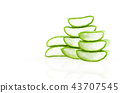 Cut Aloe Vera leaves on white background. 43707545