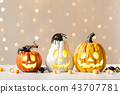 Halloween pumpkins with spider 43707781