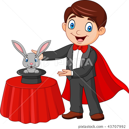Magician performing his trick rabbit appearing fro 43707992