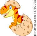 Cartoon funny dinosaur hatching 43707998