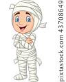 Cartoon kid wearing mummy costume isolated on whit 43708649