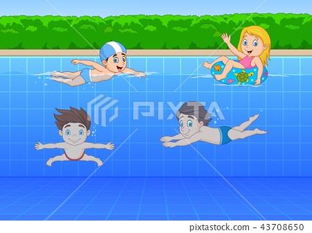 Cartoon kids swimming in the pool 43708650