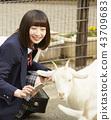 高中女生在動物園玩 43709683