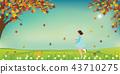 Cute little girl and dog catching butterflies 43710275