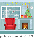 Christmas interior in flat style,decorate room  43710276