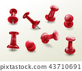 Stationery office thumbtack, vector push pins 43710691