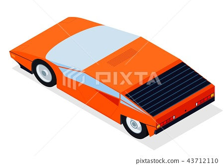 Car with isometric perspective for new retro wave sportcar 80s and arcade style posters 43712110