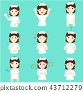 Nurse with different emotions cartoon vector. 43712279