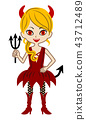 Girl in the devil's costume-Halloween material 43712489