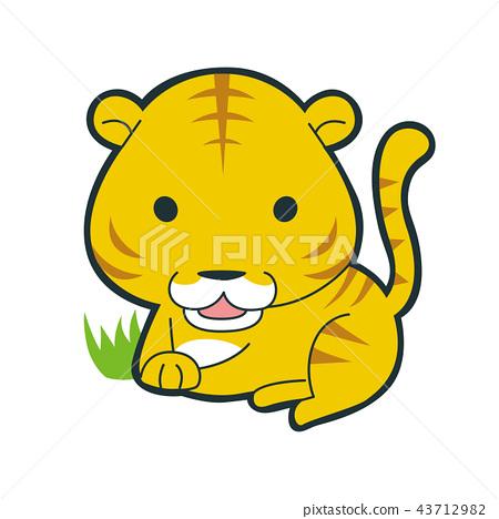 십이지 호랑이 캐릭터. 한가로이 쉬고있는 호랑이 그림. 43712982