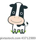 십이지의 소 캐릭터. 즐겁게 목초지를 걷고있는 일러스트. 43712989