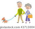 노인 강아지 산책 일러스트 43713004