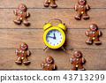 Christmas gingerbread man and alarm clock 43713299