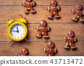 Christmas gingerbread man and alarm clock 43713472