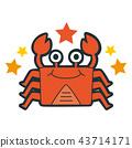 十二星座的天蠍座的插圖。螃蟹角色快樂地跳舞。 43714171