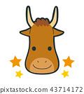 十二星座金牛座的例證。牛的性格與微笑和樂趣。 43714172