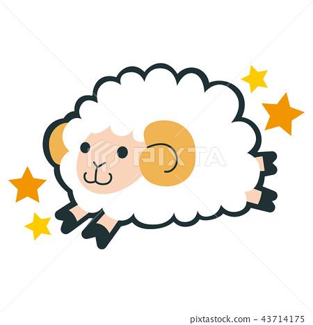 十二星座的白羊座的例證。一隻跳得很好的綿羊的性格。 43714175