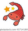 十二星座的天蠍座的插圖。一個微笑的紅狐狸字符。 43714180