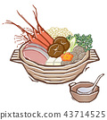 pot, pot of chicken or seafood, and vegetables in a dashi broth 43714525
