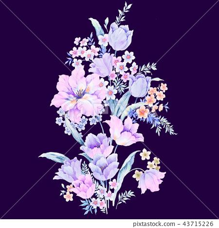 優雅的水彩玫瑰花插畫 43715226